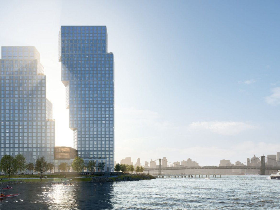 OMA's Tetris-like towers break ground at Greenpoint Landing