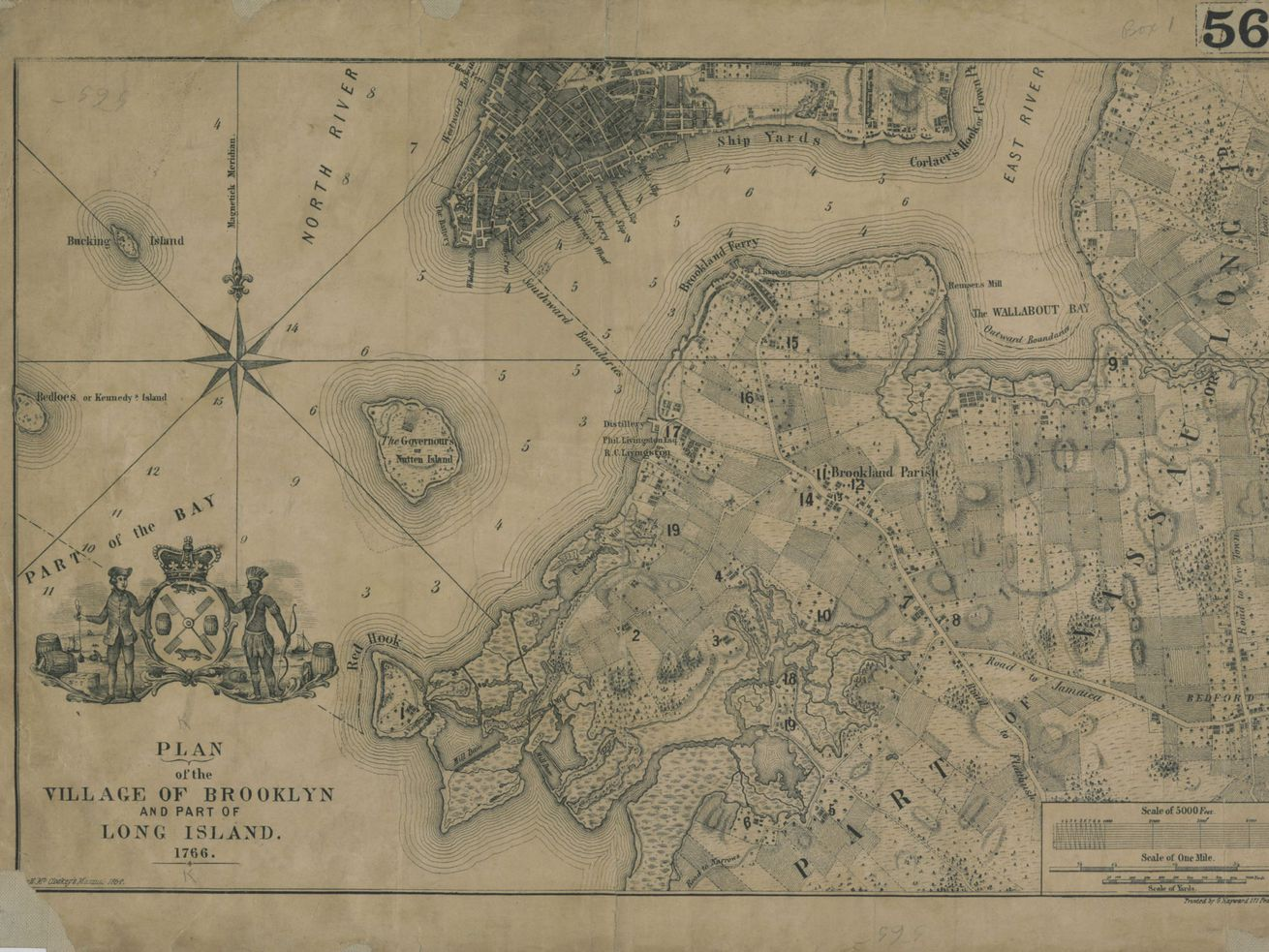 A faded green and tan map of 17th-century Brooklyn.