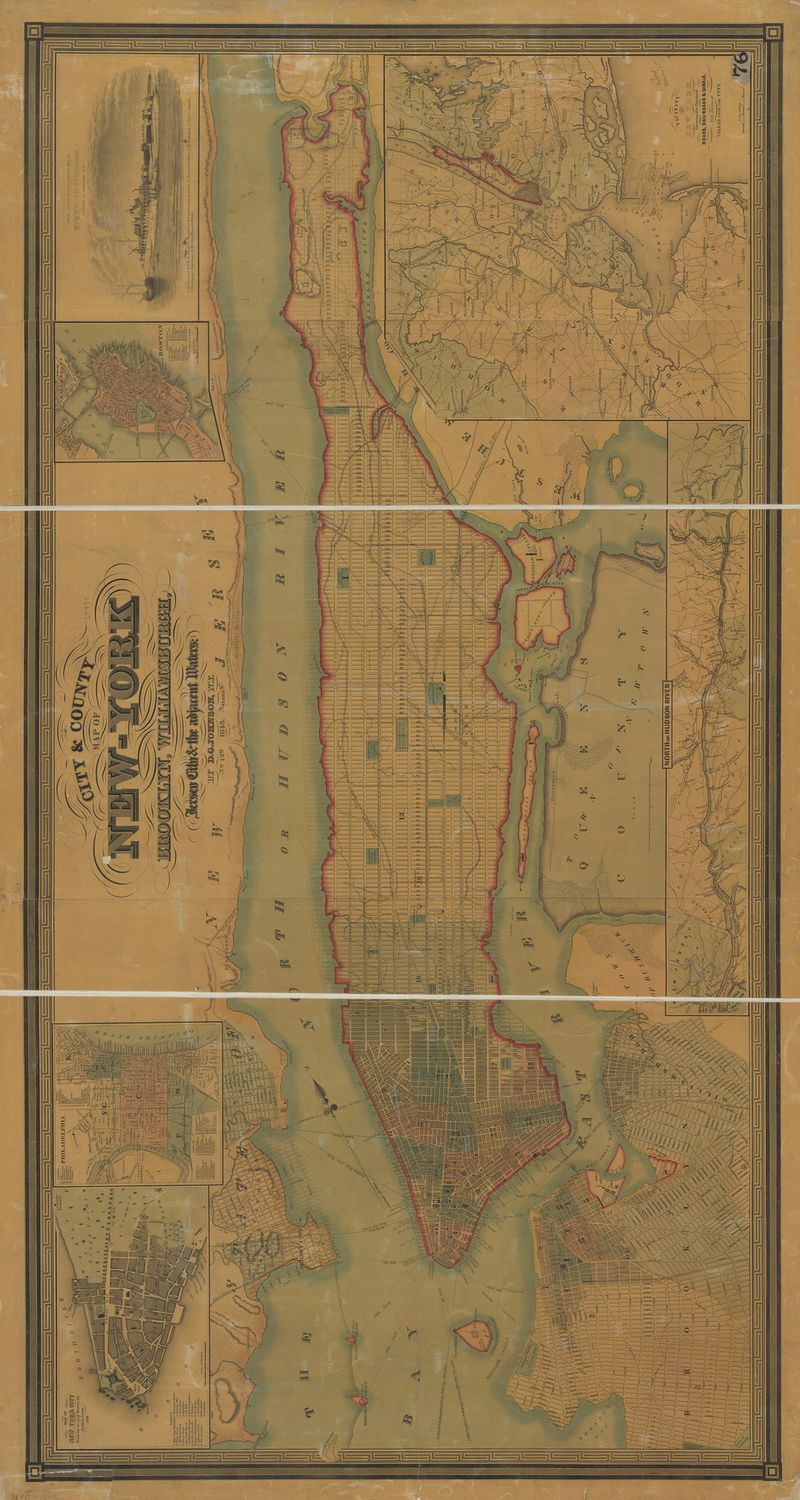 A faded vertical map of Manhattan in 1845. Markers and colored lines indicate existing streets and proposed changes to the borough.