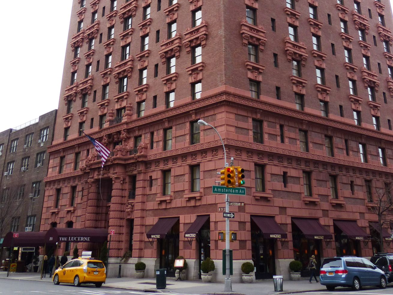 The Lucerne Hotel, a terra cotta building on the corner of Amsterdam Avenue and West 79th Street on Manhattan's Upper West Side.